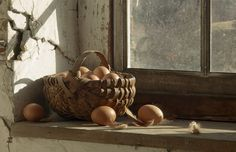 Awesome vignette....the window setting with the basket, the 'fresh' brown eggs, and ultimately... the chicken feathers!!!    Love it!