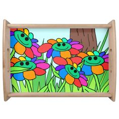 whimsical meadow flowers serving tray serving trays