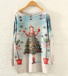 Knit Shirt with Xmas Tree Print | Clothesstop.com