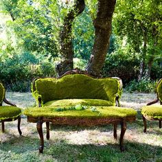 Moss covered vintage furniture vignettes. Absolutely love this idea even if it's not moss covered