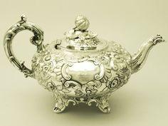 antique teapots   Sterling Silver Teapot - Antique Victorian Teaware - AC Silver