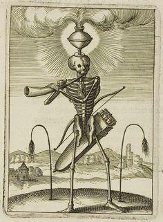 skeleton with quiver blows horn : allegorical symbolism