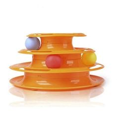 Top Quality Funny Cat Pet Toy Cat Toys Intelligence Triple Play Disc Cat Toy Balls Ball Toys Pets Green Orange  Price: 6.05 USD