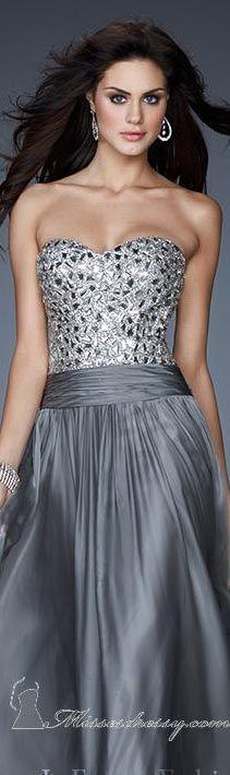 La Femme strapless crystal gray evening dress