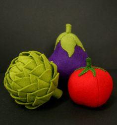 Feutre de laine jeu aliments  légumes aubergine  par EvaLauryn