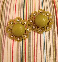 Vintage 1960s Flower and Rhinestone Earrings Clip by BarbeeVintage, $12.00