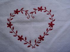 heart embroidery on linen