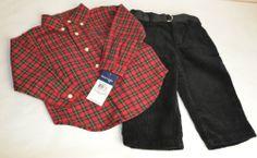 NWT Ralph Lauren Boys Holiday Dress Shirt & Corduroy Pants Outfit 9-24 months