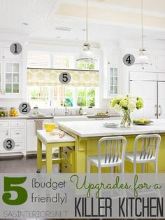 Yellow Kitchen - Design photos, ideas and inspiration. Amazing gallery of interior design and decorating ideas of Yellow Kitchen in kitchens by elite interior designers. Kitchen Inspirations, Yellow Kitchen, Kitchen Remodel, Kitchen Decor, Interior Design Kitchen, Painted Kitchen Island, New Kitchen, Home Kitchens, Kitchen Paint
