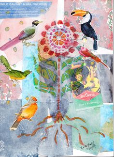 """Birds in Paradise"" collage and stencil"