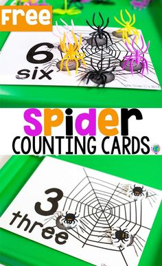 Free printable spider counting cards for preschool. Perfect for a bug and insect theme! a great math center for working on one to one correspondence and number recognition with pre-k and kindergarten! Fall Preschool, Kindergarten Fun, Preschool Math, Fun Math, Halloween Preschool Activities, Preschool Centers, Preschool Ideas, Counting Activities, Autumn Activities