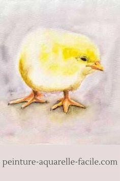 """Un poussin à la peinture aquarelle. Tuto disponible dans le Club Aquarelle et dans la formation """"Tout connaître sur les techniques aquarelles"""". Club, Bird, Animals, Budget, Easy Watercolor, Watercolor Painting, Water Colors, Baby Chicks, Animales"""