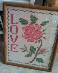 Vintage Cross Stitch Rose with Love by RoyalRabbitDesigns on Etsy, $12.00