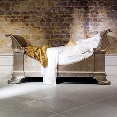 And So To Bed • Nautilus Silver Leaf Bed - Beds - Modenus Catalog