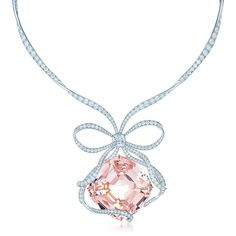 The Tiffany Anniversary Morganite necklace in platinum with diamonds. | Tiffany & Co.