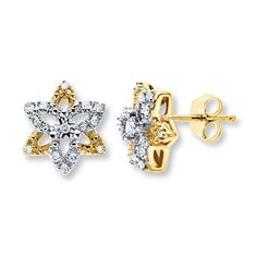 Diamond Star Earrings 1/10 Carat tw 10K Yellow Gold
