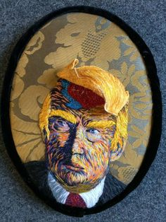 As our new President is sworn in, I wanted to share my portrait of candidate Trump, called BLOWN- (love, hate and Twitter, a portrait of Donald Trump). Made during the campaign last summer (along with a companion portrait of HRC - BRANDED - (easy A, a portrait of Hillary, Bill and Monica), I created the two hand embroidered portraits in response to the strangest and most surprising political campaign I've ever witnessed. The Donald is the first Politician that was brought to us by Social...
