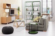 Benefits of Installing Wall Shelving Units in Living Room: Green Metal Modern Steel Shelving Design With Wooden Wall And Round GLass Table ~ Living Room Inspiration