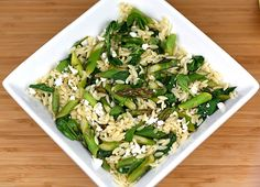 Lemon Orzo Salad with Asparagus, Spinach, and Feta    *favorite summer meal