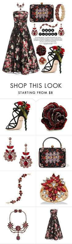 """""""Red Florals + Black"""" by alyssawui ❤ liked on Polyvore featuring Dolce&Gabbana, Fantasy Jewelry Box, Matthew Williamson, Alexander McQueen, Nine West, Palm Beach Jewelry, Erickson Beamon and Charter Club"""