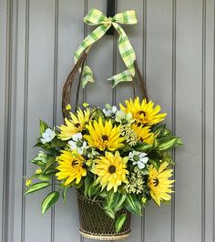 New Summer front door basket arrangement I made. Loving the bright colors. Sunflower Floral Arrangements, Basket Flower Arrangements, Artificial Flower Arrangements, Artificial Flowers, Front Door Decor, Wreaths For Front Door, Door Wreaths, Sunflower Wreaths, Basket Decoration