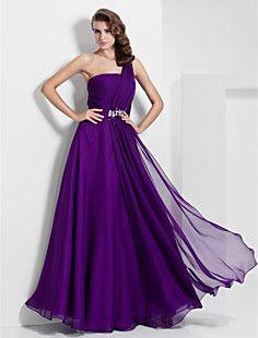 A-line One Shoulder Floor-length Chiffon Evening/Prom Dress – USD $ 109.79