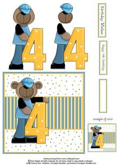Birthday Bear Fourth Birthday on Craftsuprint designed by Tracy Napier - Make a fabulous fourth birthday card with this set featuring the cutest of bears, simply print of the design and layer the different elements using the example card for reference. Comes with choice of greeting. - Now available for download!