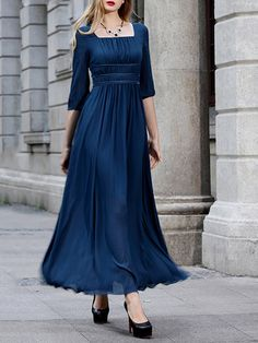 Half Sleeve Square Neck Chiffon Simple Paneled Maxi Dress - StyleWe.com
