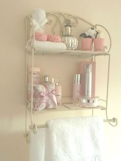 Shabby Chic Metal Wall Shelf Towel Rail Rack Storage Cabinet Bathroom Kitchen