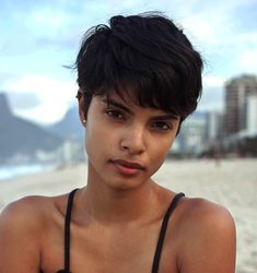 photos/chill Gorgeous: black short pixie cut, this hairstyle screams CUTE, absolutely stunning and brings out her features! Black Girls Hairstyles, Pixie Hairstyles, Pixie Haircuts, Quick Hairstyles, Short Pixie, Short Hair Cuts, Shaggy Pixie Cuts, Short Hair Model, Curly Pixie