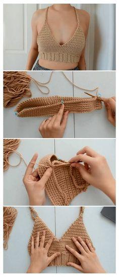 Mode Crochet, Crochet Diy, Learn To Crochet, Crochet Crafts, Crochet Projects, Crochet Tops, Diy Crochet Halter Top, Diy Crochet Clothes, Crochet Ideas