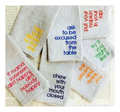 The Table Manners Dinner Napkins Encourage Kids to Be Polite and Pleasant #bff #gifts trendhunter.com