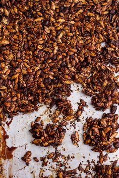 Coffee Roasted Pumpkin Seed Snack Clusters...Dipped in Chocolate | halfbakedharvest.com @hbharvest