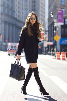 Black Sweater Dress with suede over the knee boots