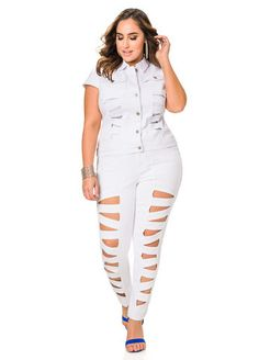 70c9f169fae84 Ashley Stewart Lattice Cut Out Denim Skinny Jeans  AshleyStewart  PlusSize   PlusSizeFashion Fashionable Plus