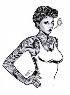 tattooed girls illustration by adam isaac jackson Tattoo Girls, S Tattoo, Girl Tattoos, Mike Giant, Ink Illustrations, Illustration Girl, Adam Isaac Jackson, Line Art, Jackson's Art