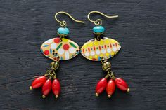 Red and Turquoise Beaded Dangle Earrings with by MusingTreeStudios