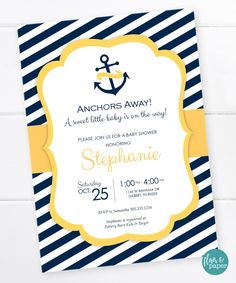 Nautical Anchor Baby Shower, Nautical Invitation, Nautical Baby Shower, Nautical Stripes, Navy and Yellow,  DIGITAL PRINTABLE FILE by FlairandPaper on Etsy