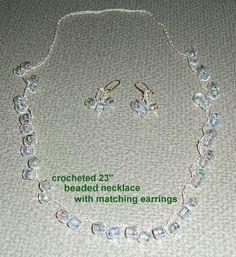 Crocheted Beaded Necklace and matching earrings    http://www.ebay.com/itm/320891638866?ssPageName=STRK:MESELX:IT&_trksid=p3984.m1555.l2649#ht_500wt_949