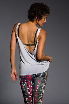57213cdade Onzie Knot Back Tank Top - Light Gray Printed Yoga Pants
