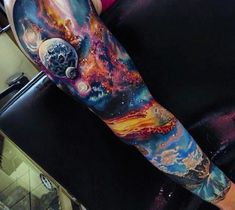Male Cosmic Tattoo Full Sleeve