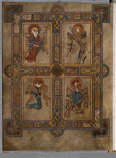 The Book of Kells: Symbols of the Four Evangelists | Manuscripts at Trinity Luca Font style mid-to-low back Book Of Kells, Body Is A Temple, The Four, Barbarian, Symbols, Drawings, Books, Painting, St Luke