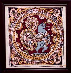 Saree Painting, Kalamkari Painting, Kerala Mural Painting, Fabric Painting, Indian Artwork, Indian Folk Art, Indian Art Paintings, Madhubani Art, Madhubani Painting