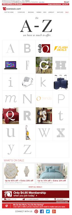 """The A-Z of Overstock.com email 4/29/2014 SL: """"A is for ..."""""""