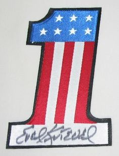 evil knievel | Evel Knievel Autographed Uniform Number One Patch - 5.5X4 EK-SN