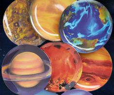 Awe at the majesty of our solar system over breakfast with these planetary plates. Perfect for eating off of your Uranus - this set of melamine plates each measure ten inches across and feature a high quality image of our solar system's neighboring planets.