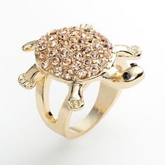 Kohl's LC Lauren Conrad Gold Tone Simulated Crystal Turtle Ring, $15