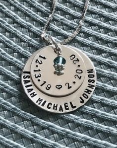 Child/'s Name Birthdate Hand Stamped Couples Jewelry Personalized Name and Date Charm Graduation date Custom Mothers Jewelry