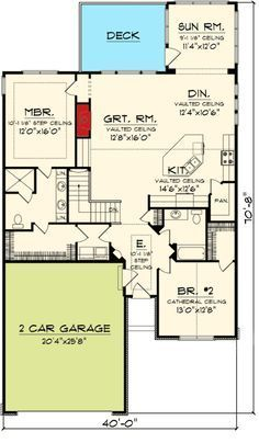 Charming 2 Bedroom Ranch Home Plan - floor plan - Main Level add storage where staircase is # home plane floor plans, Plan Charming 2 Bedroom Ranch Home Plan House Plans One Story, New House Plans, Small House Plans, House Floor Plans, The Plan, How To Plan, Neoclassical Interior, Basement House Plans, Ranch House Plans