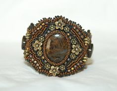 Chocolate Beaded Embroidery Cuff by gayhuntley on Etsy, $229.00